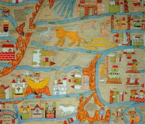 Фрагмент Эбсторфской карты мира (прим. 1240 г.) с изображением стран Ближнего Востока