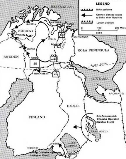 Карта отсупления немецких войск в район Люнген