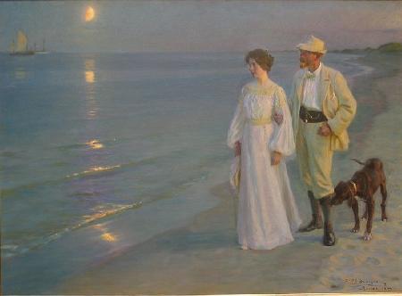 Педер Северин Крёйер - Летним вечером на берегу у Скагена. Художник со своей женой